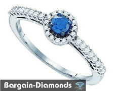 blue diamond .42 carat 10K gold halo engagement ring love promise birthday