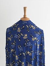 Stretch French Blue Floral Butterfly Print Dressmaking Viscose Jersey Fabric