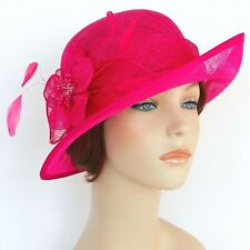 New Woman Church Derby Wedding Sinamay Ascot Dress Hat  DR-04 Hot Pink