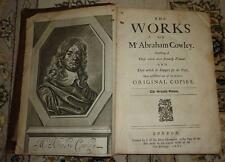 RARE Early 1681 The Works of Abraham Cowley ENGLISH POETRY Royalist CIVIL WAR