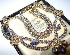 VINTAGE gioielli 1950s Rainbow Vetro Crystal Ab Seme Perla Goccia Collana di fiori