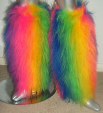 LONG HAIR FUR LEG WARMERS-FLUFFIES-ALL COLOURS-HERESY-CLUB/GOTH/CYBER/HALLOWEEN