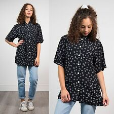VINTAGE 90'S OVERSIZE BLOUSE SHIRT WOMENS BLACK RETRO SHORT SLEEVE CASUAL 12