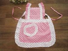 Princess Pink White Dot Lace Frill Heart Shape Pocket Kid Cotton Apron