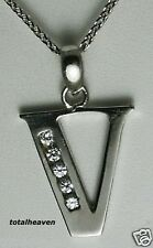 "BIG Initial ""V"" 14K White Gold D-Flawless CZ Pendant"