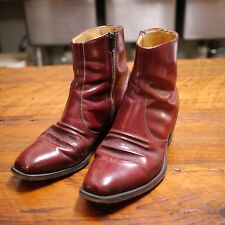 Vtg Roebucks Brown Burgundy LEATHER USA Western Zip Up Mod Ankle Boots 9EE 42.5