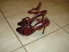 MANOLO BLAHNIK DEEP RED PATENT LEATHER STRAPPY SANDALS Sz 38.5B MADE IN ITALY