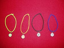 """""""JUSTICE"""" lot of 4, Soccer Bracelets, Soccer Ball Charm on colorful rope"""