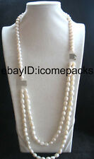 "2rows freshwater pearl white round baroque necklace 28-31"" nature wholesale bead"