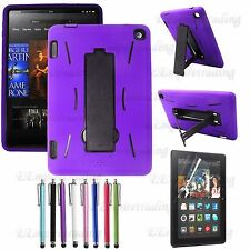 Amazon Kindle Fire HD 7 Hybrid Heavy Duty Kickstand Hard Soft Case Cover