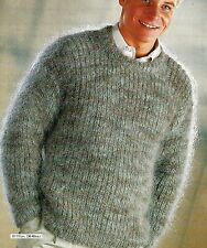 "#224 MENS MOHAIR FISHERMANS RIB SWEATER 36-46""  VINTAGE KNITTING PATTERN"