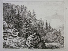 F. RECHBERGER `BLOCKHAUS IM GEBIRGE; LOG HOUSE IN THE MOUNTAINS´ DIETRICY  ~1800