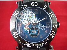 Genuine Unisex Ed Hardy watch with Jaquar  on blue  dial and nice rubber band