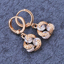Vintage Cute womens Rose gold filled crystal dangle Drop earrings wholesale