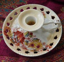Antique chamber stick with match striker German porcelain vintage candle holder