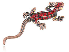 Vintage Antique Red Crystal Rhinestone Lizard Critter Animal Hot  Pin Brooch