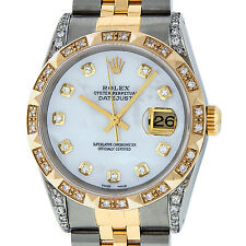 Mens Rolex Datejust Watch SS & 18K Yellow Gold Mother of Pearl Pyramid Diamond