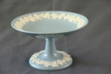 Wedgwood Queensware Pedestal Compote Lavender Blue Round Candy Dish Green Stamp