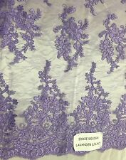 Lilac French Flowers Embroider On A Design Mesh Lace Fabric- Yard
