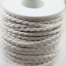 5/20M Solid Hand-Woven Rainbow Braided Leather Cord For Necklace Bracelet 3mm