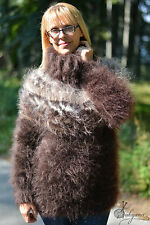 DUKYANA Hand Knitted ICELANDIC Mohair Sweater Thick Tneck One Size fuzzy jumper