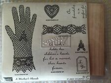 Stampin' Up A Mother's Hands Set of 7 Stamps Retired 2003 Gloves Lace Heart