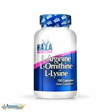 Haya Labs L-Arginine L-Ornithine L-Lysine 100caps Growth & Recovery Free P&P