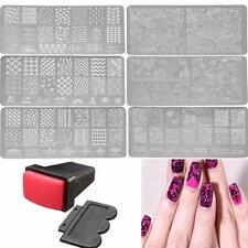 Uñas Sello y Placa De Metal Estampado Nail Stamper Stamping Decoración Plate Kit