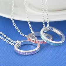 3pcs Best Friends Forever BFF Engraved Circle Ring Pendant Necklaces