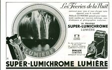 Publicité ancienne pellicule photo SUPER-LUMICHROME 1933