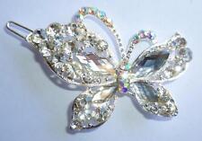 New Silver Butterfly Hair Clip Rhinestone Crystal Barrette Prom Party Wedding