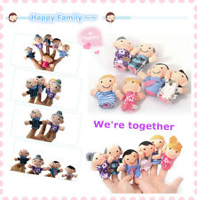 New 6Pcs Family Finger Puppets Cloth Doll Baby Kid Educational Hand Toy Story