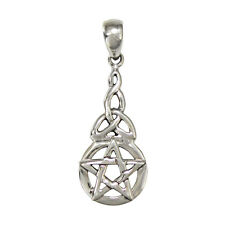 Sterling Silver Dangling Pentacle Pentagram Pendant Celtic Knot Wicca SS Jewelry