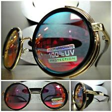 VINTAGE RETRO 60's STEAMPUNK CYBER Round Blinder SUN GLASSES Black & Gold Frame