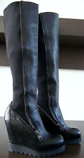 Ash Tosca black pelle neoprene Wedge Heel Knee-High Boots Stivali da donna tg. 37 NUOVO