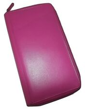 NEW ITALIA LEATHER RFID PROTECTED ZIP PASSPORT ORGANIZER TRAVEL WALLET HOT PINK