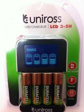 UNiROSS SMART FAST LCD CHARGER 4 x AA  DURACELL RECHARGEABLE BATTERIES