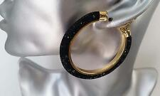 Gorgeous large gold tone & black sparkly crystal filled hoop earrings  6cm * NEW