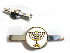 GOLD HANUKKAH MENORAH WITH STAR OF DAVID JEWISH BADGE TIE SLIDE TIE GRIP TIE PIN
