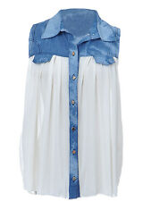 Anna-Kaci S/M Fit Off-White Sheer Collared Button-Down Blouse w Acid Wash Blue