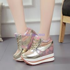Women Sneaker High Top Floral Sequin Hidden Wedge Platform Lace up Fashion Shoes