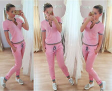2pcs Women Sportswear Yoga Workout Tracksuit Gym Shirt Top & Capri Pants Outfits
