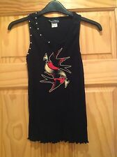Sourpuss black ribbed beater style vest top tattoo swallow print M 10 rockabilly