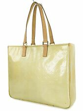 Authentic LOUIS VUITTON Columbus Silver (Yellow Green) Vernis Tote Bag #25213B