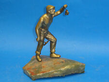 FABULOUS EARLY 20 c BRASS COAL MINER SCULPTURE ON MARBLE BASE