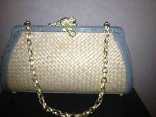 AUTHENTIC BARRY KIESELSTEIN-CORD BAG/PURSE WICKER/BLUE OSTRICH W/GOLD FROG MINT