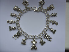 NEW Lovely Handmade Silver Teddy Bear Chain Bracelet with 15 Charms