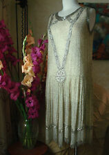VINTAGE Museum Quality 1920'S BEADED GREAT GATSBY CHARLESTON FLAPPER DRESS ~ S/M