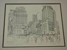 Delbart Duchein Art Signed NEW YORK Stock Exchange City Skyline NYC Wall Street