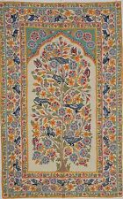 "Tree of Life Wall Decoration Rug Carpet Tapestry Ivory Crewel Embroidery 60""x36"""